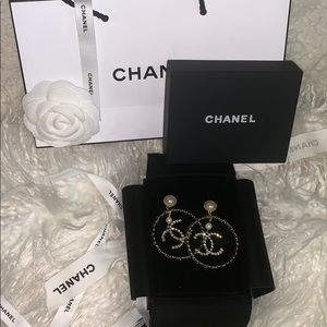 Authentic CHANEL hoop earrings.